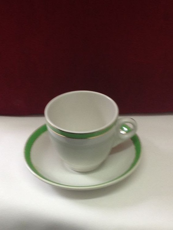 Green and Gold Teacups and Saucers