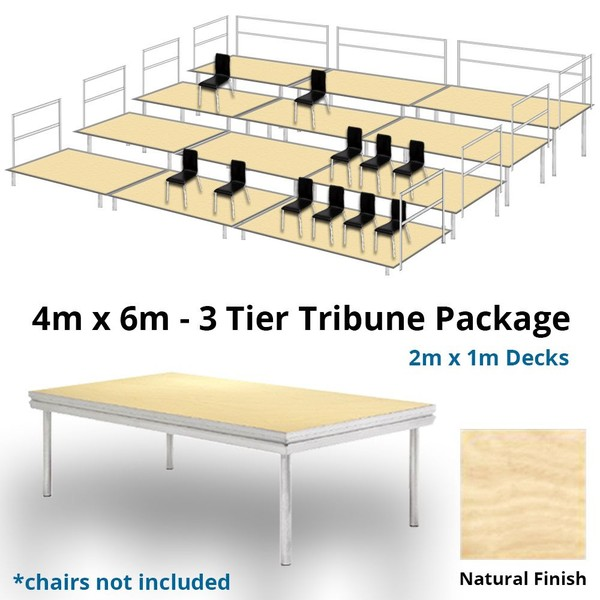 Stage Deck 3 Level Tiered Seating Tribune 4m x 6m Package Natural Finish