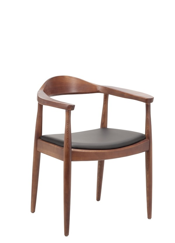 Forli Armchair Solid Ash Walnut Finish Wood Chairs