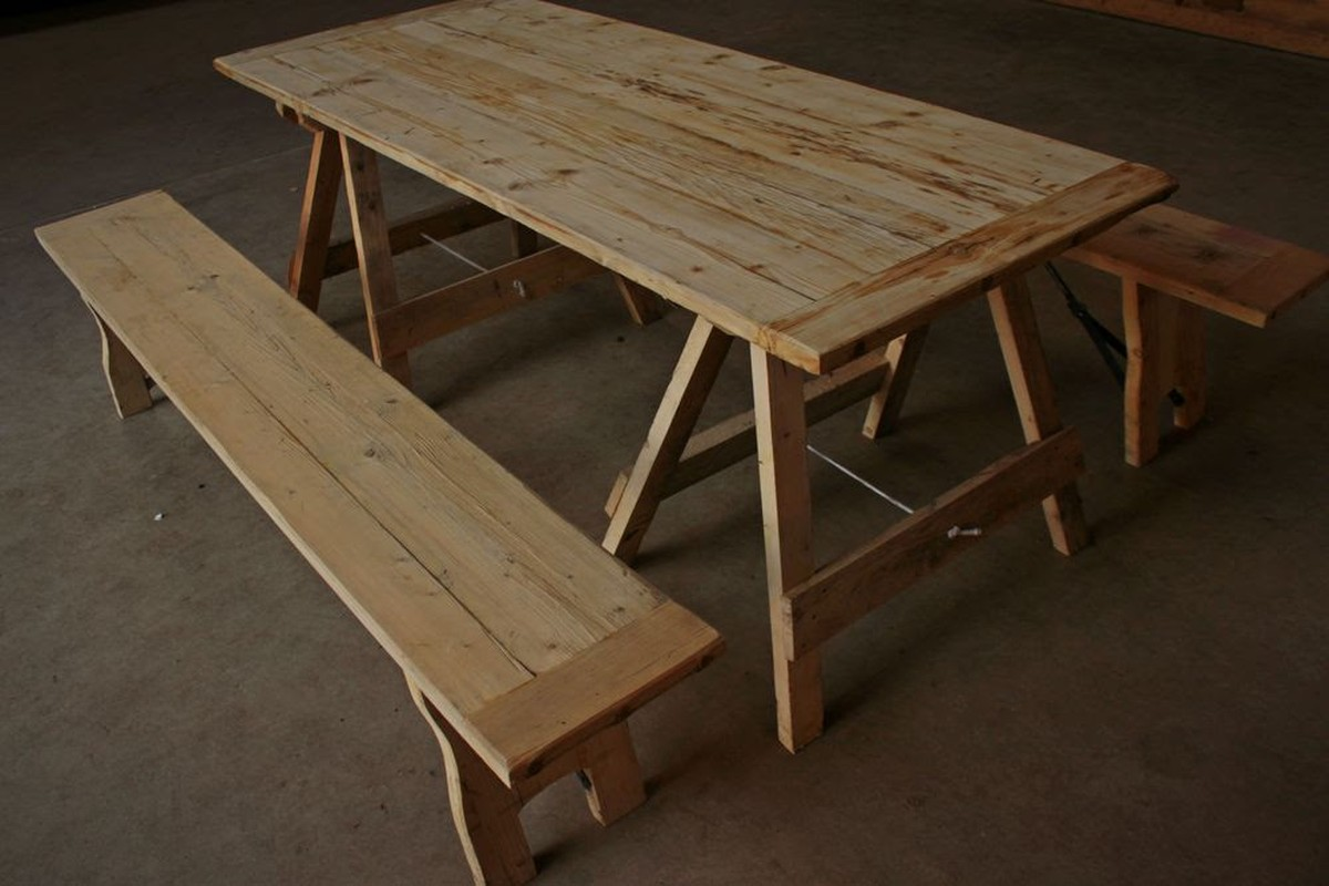 ... Rustic Trestle Tables And Benches ...