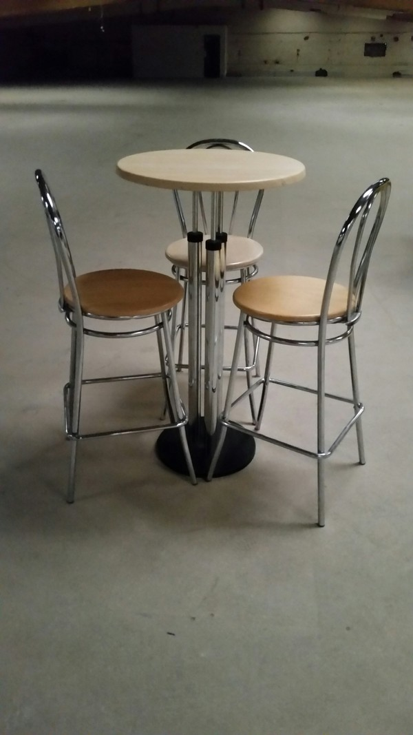 2 No. Chrome high drinks tables - Derby