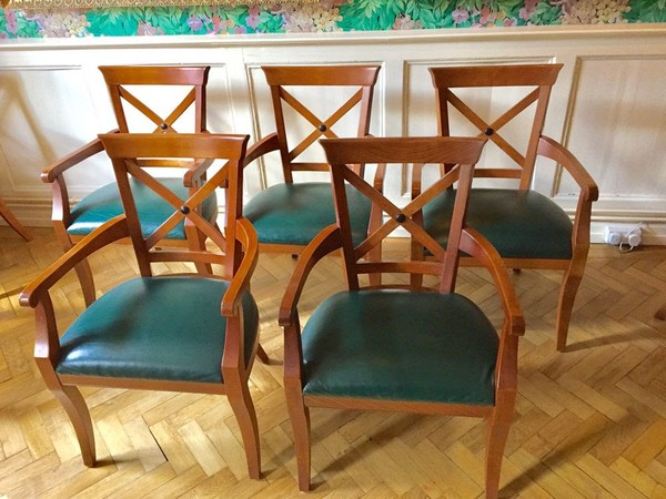 20x Green Leather Upholstered Chairs by William L Maclean