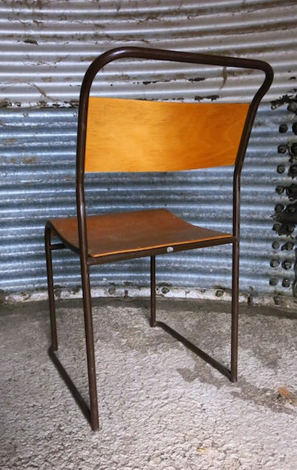 Newport Original PEL Tubular Metal and Plywood Stacking Chairs c1955