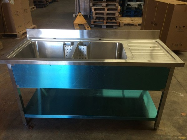 1.6M Commercial Stainless Steel RHD Double Bowl Sink - 700 Series