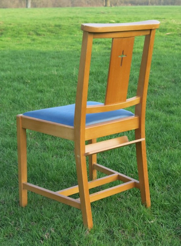church chairs with Bible shelf
