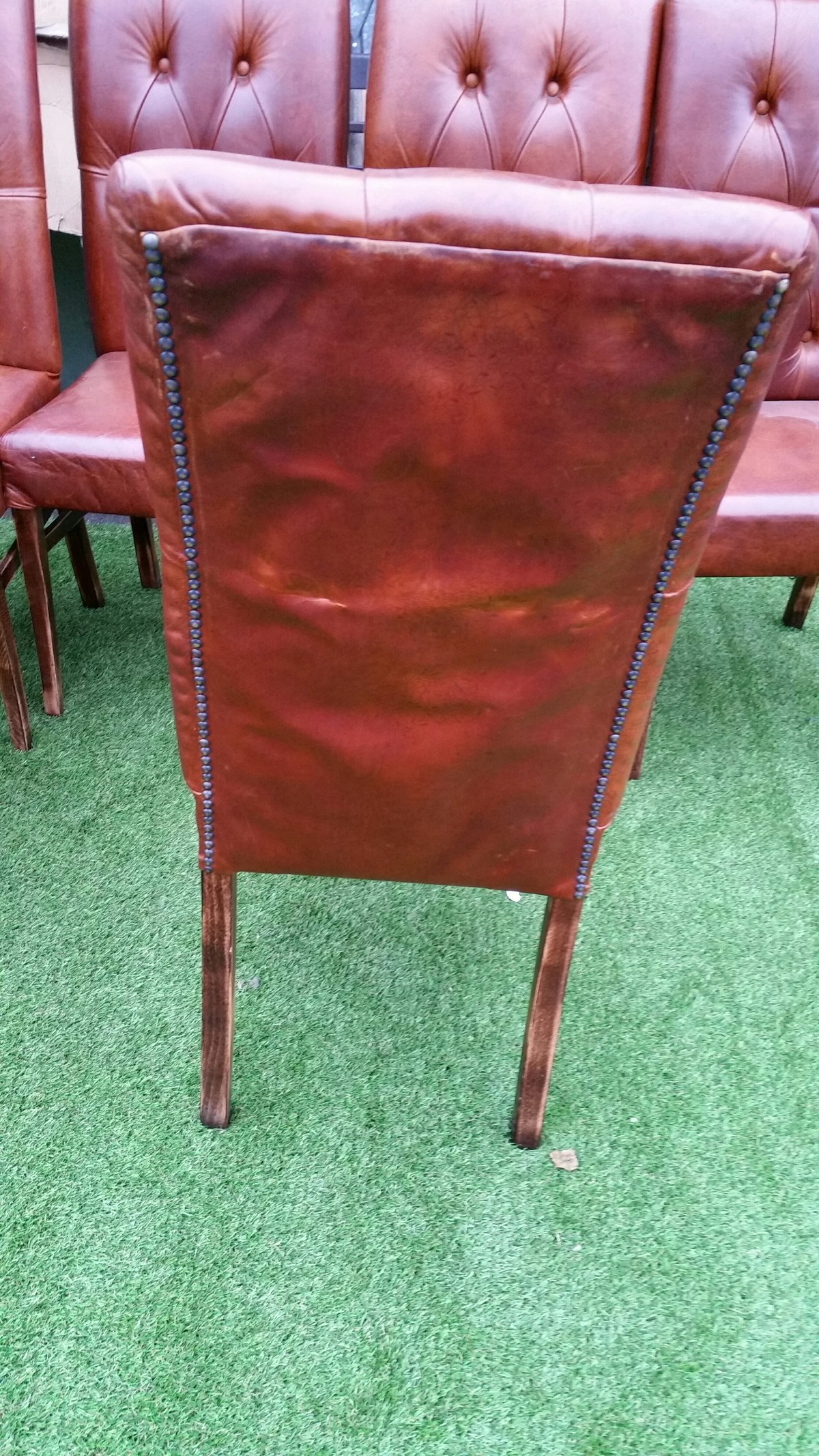 Buttoned Leather Porters Chair