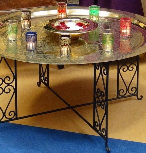 Brass Tray Table Candles