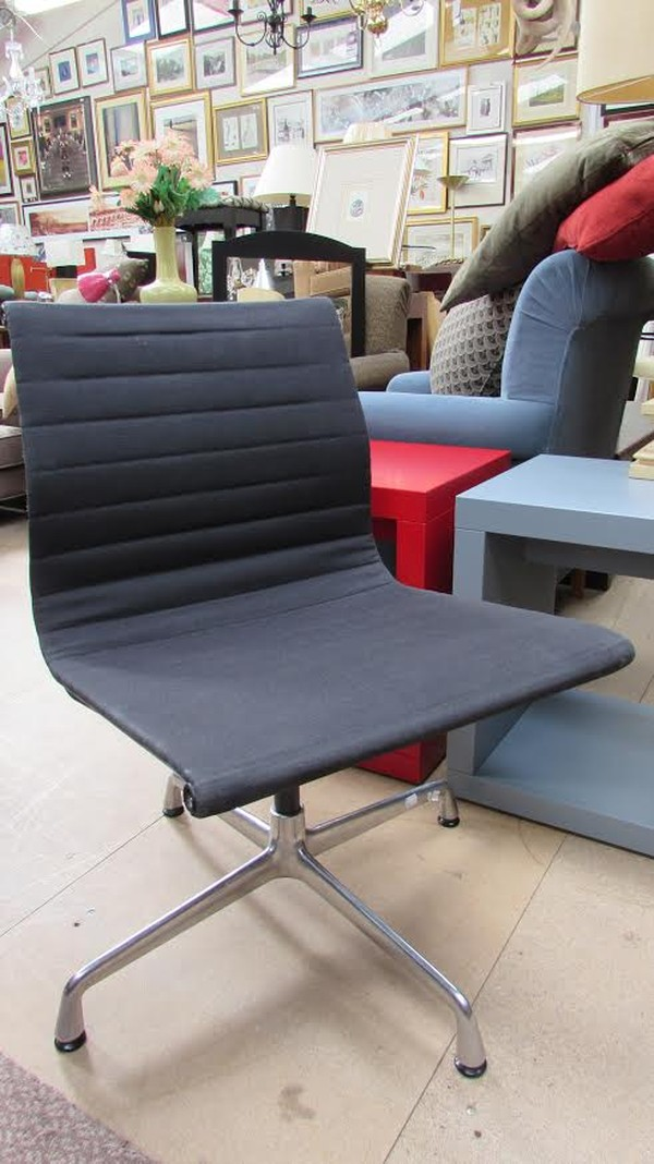Black Lined Hopsack Fabric Swivel Chair
