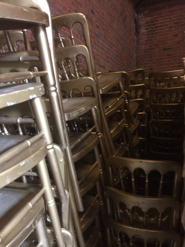 Gold Banqueting Chairs Stacked