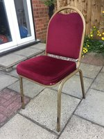 Burgandy banqueting chair with gold frame