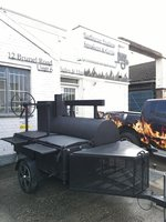 Black BBQ Smoker Trailer BBQ Mate