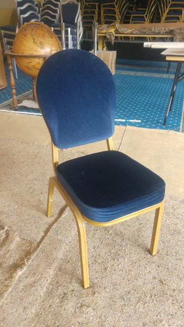 Blue & Gold Round Backed chair