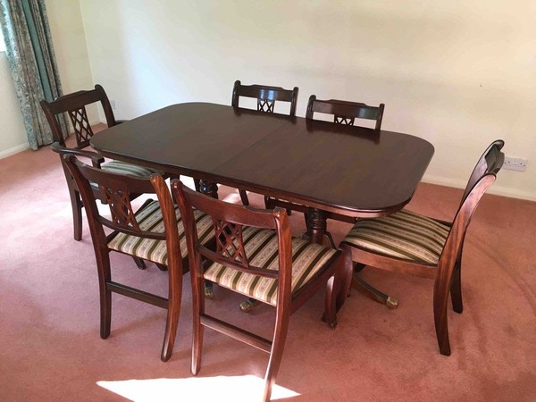 Sold Double Pedestal Extending Dining Table 6 Chairs In Rosewood Finish