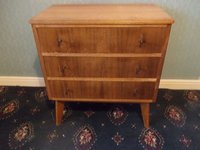 Morris of Glasgow Three drawer chests Australian walnut