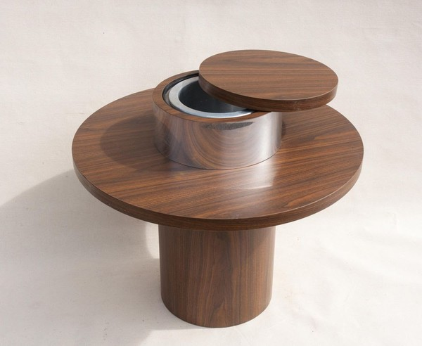 Wood champagne table with ice bucket