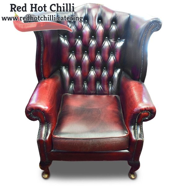 Queem Anne Red Chesterfield Armchairs