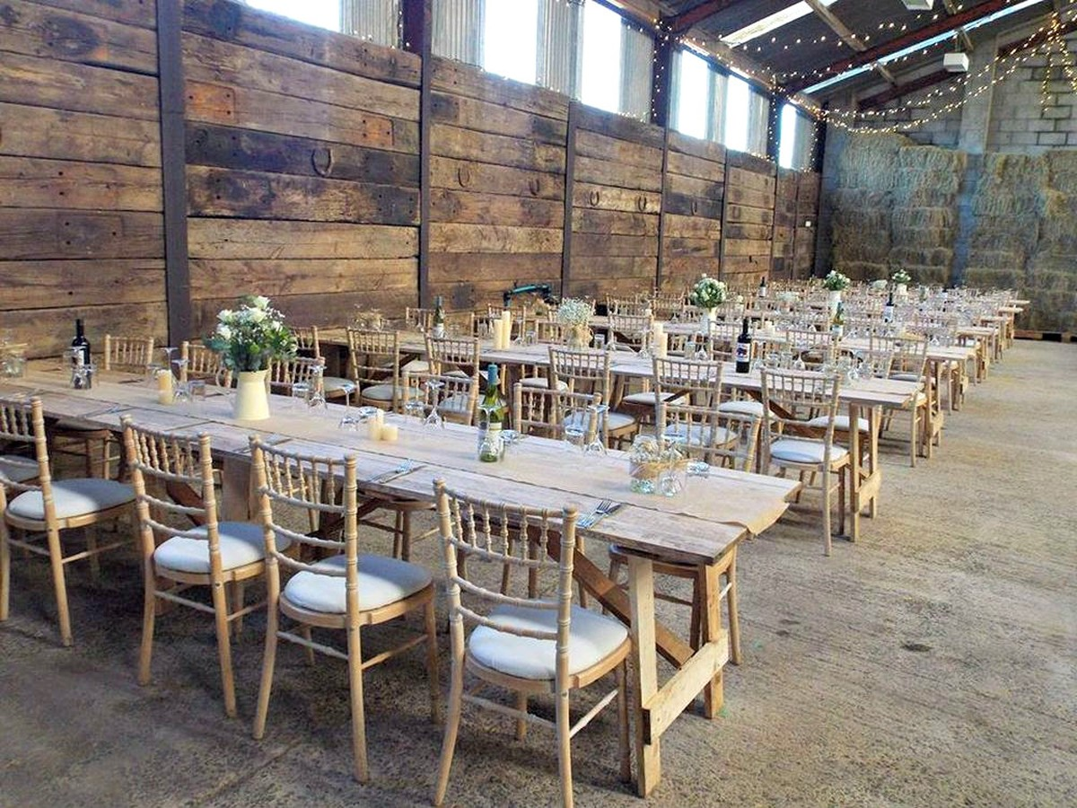 Secondhand chairs and tables benches wooden farmhouse