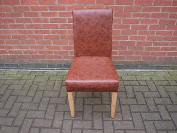 Restaurant Dining Chairs with Brown Leather Upholstery