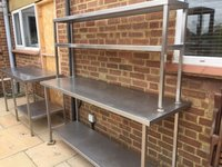 Secondhand stainless steel tables and shelves