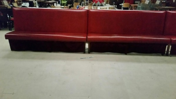 Red Fauz Leather Bench