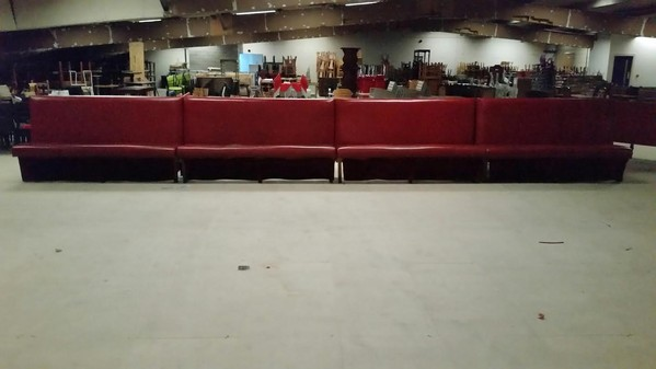 Red Fauz Leather Bench Seating