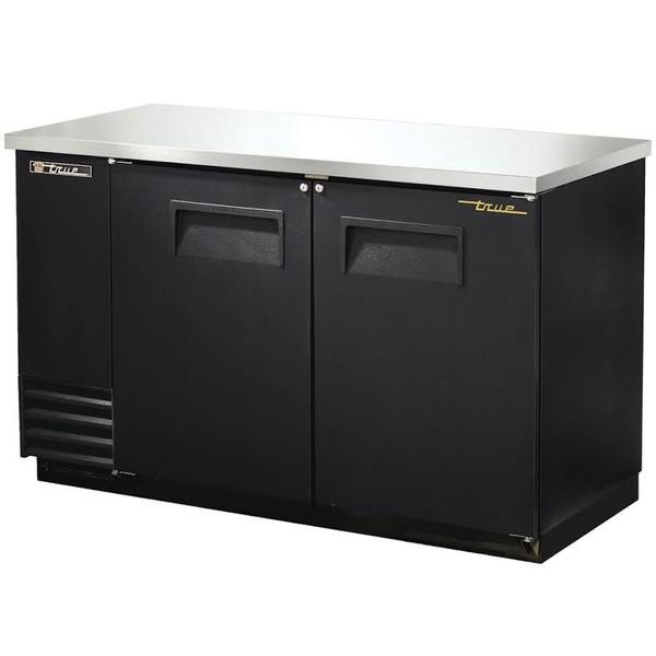 True - Solid Black Back Bar Double Door Cooler