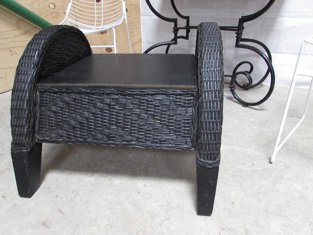 Secondhand Prop Shop Decorative And Furniture 5x Black Rattan Coffee Table Bench Stool