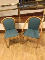 Blue-Green Cane Horseshoe Barrel Bar / Restaurant Chairs