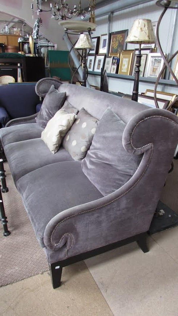 Purple Fabric And Feather 3 Seat Sofa