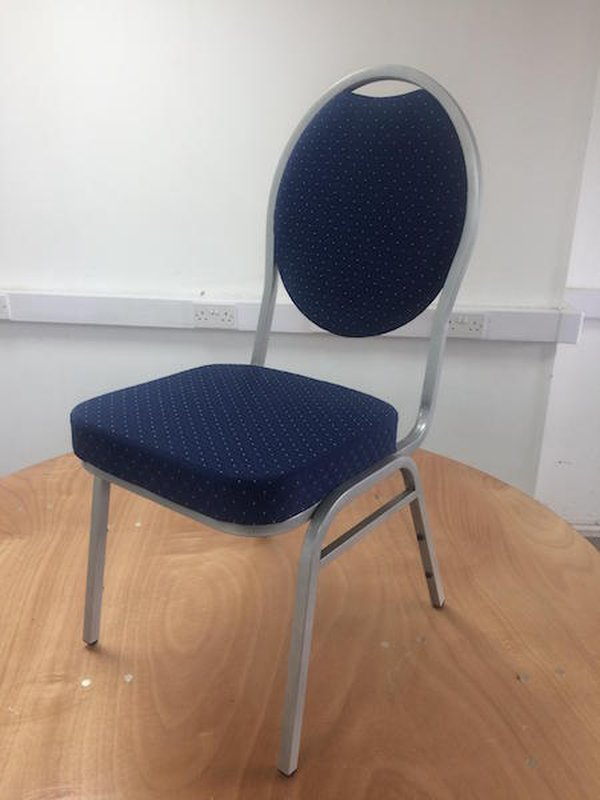 Blue Steel Spoon Back Banqueting Chairs