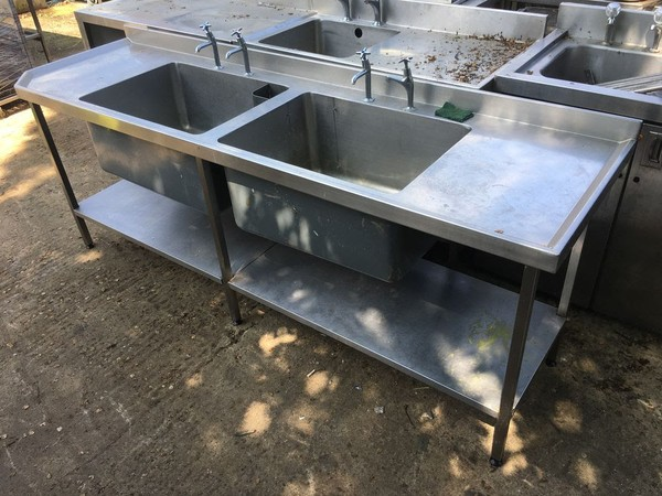 2.4m Double Bowl, Double Drainer Sink