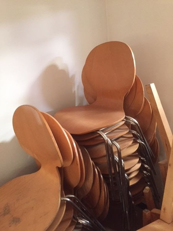 Job Lot Wooden Chairs Stackable (approx 55)