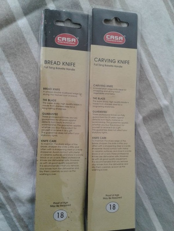 Brand New Casa Professional Carving And Bread Knives