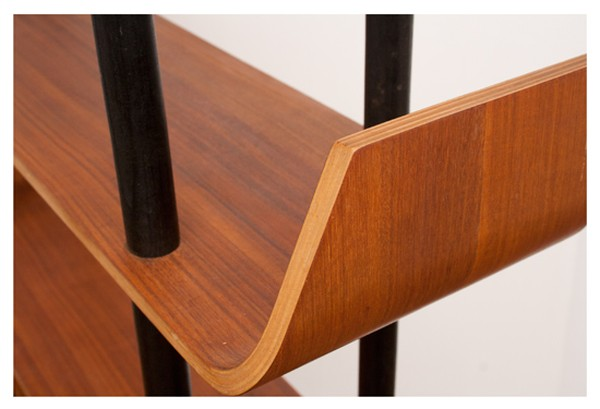 Teak and Bent Plywood Bookcase