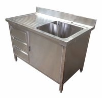 Commercial Stainless Steel Double Sink With Cupboard And Drawers Lhd