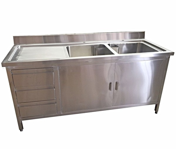 1.8m Commercial Stainless Steel Double Sink With Cupboard And Drawers Lhd