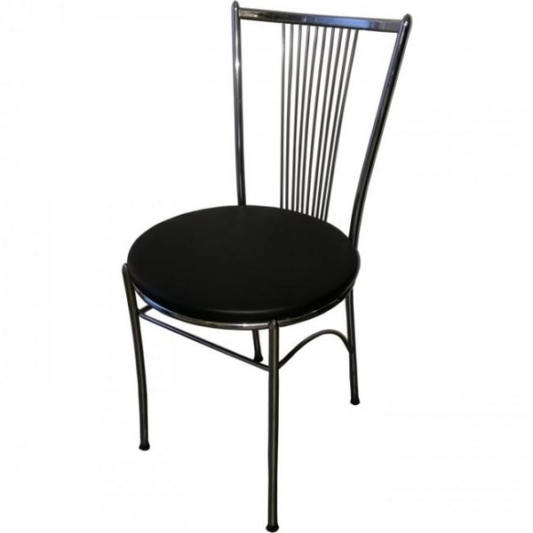 Metal Cafe Chair with Re-upholstered Seat