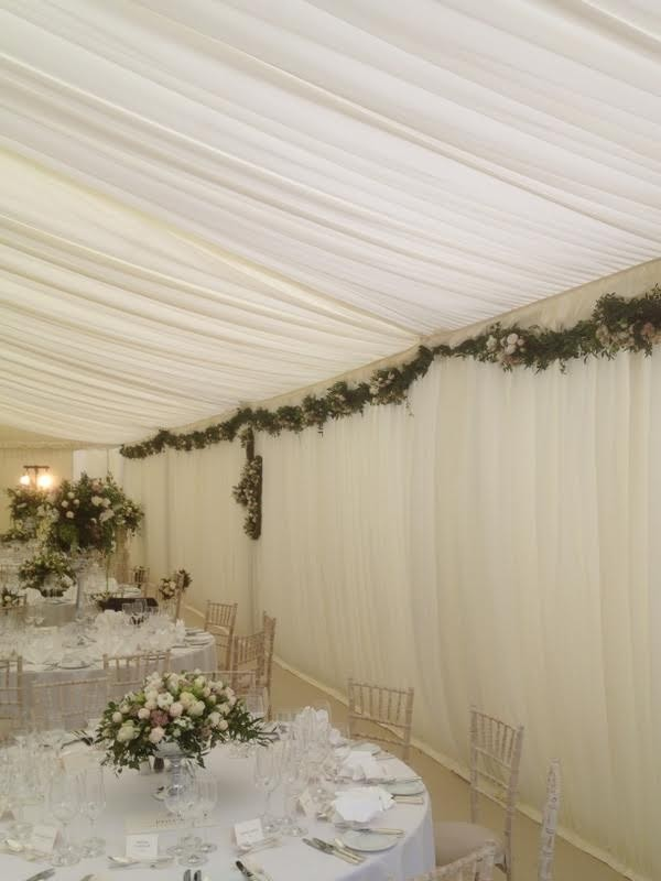 21x 5m x 3m mid Ivory pleated walls