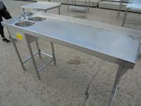Stainless steel double bowl sink.  Small bowls.