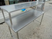 Stainless steel table with gantry