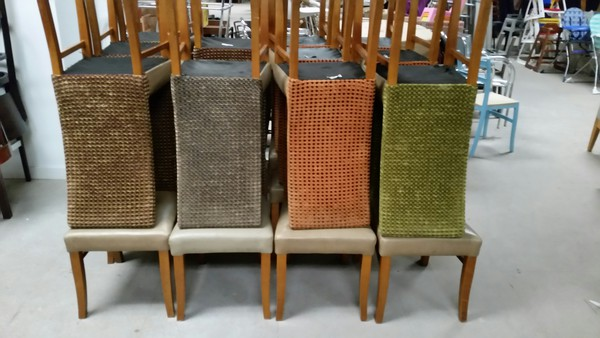 22x Leather Seat / Dralon Back Chairs - Derby