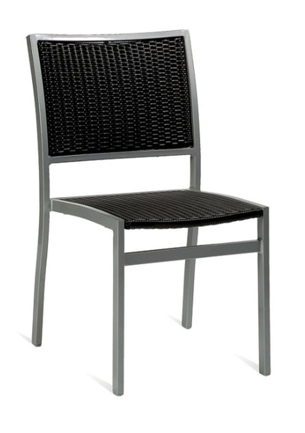 Outdoor Alu / Black Weave Chairs
