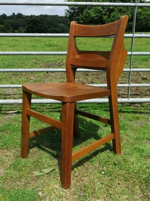 Mid 1960s Contemporary Design Elm 'Dog Leg' Church Chapel Chairs