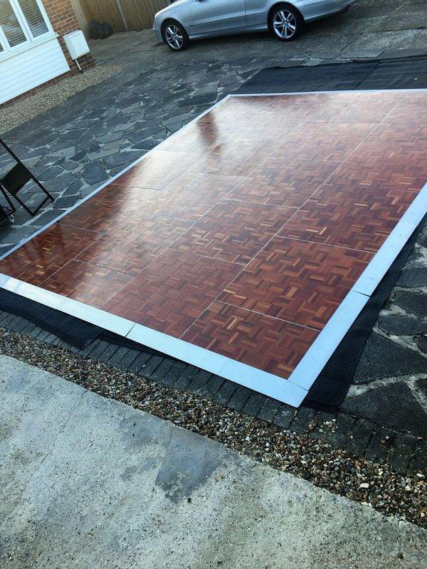 Dance Floor - 15ft X 12ft Florlok Wooden Parquet Dance Floor by Portable Floormaker