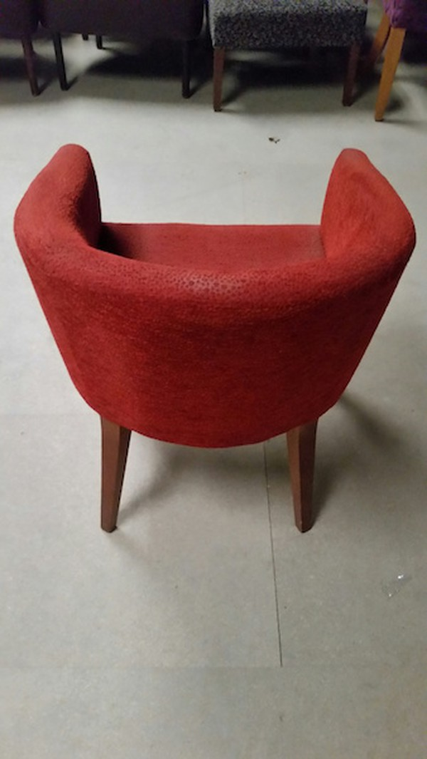 Rust fabric tub chairs