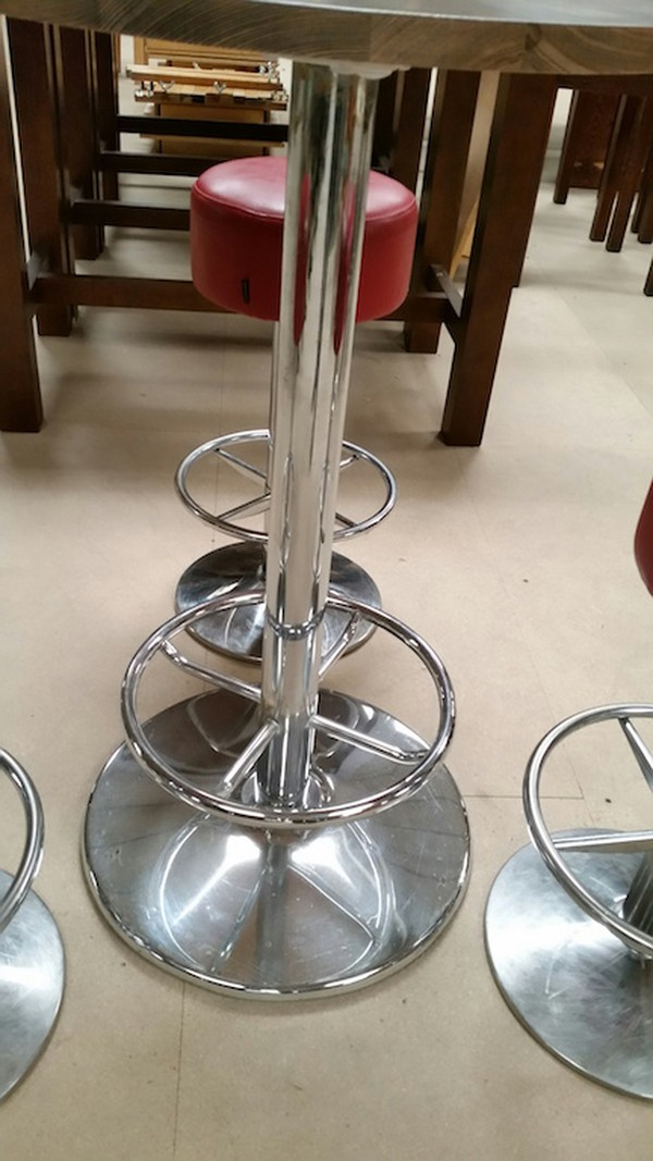 2 Chrome high table and stool sets - Derby