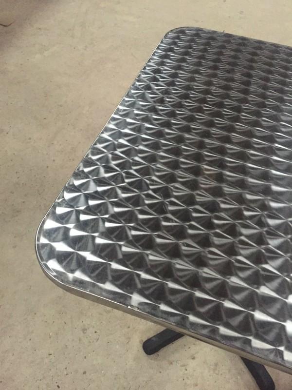 Brushed aluminium table