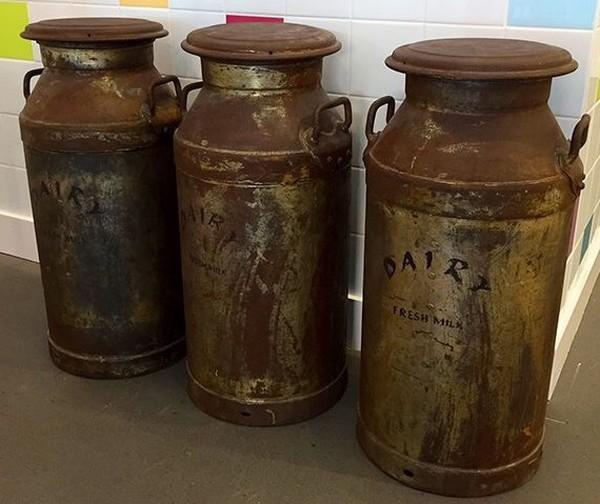 Original Devon old dairy farm milk churns