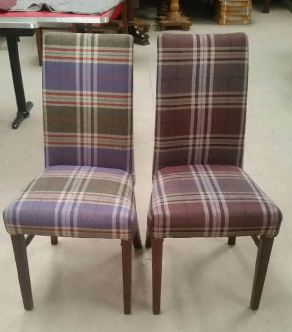 11 tartan fabric high back dining chairs - Derby