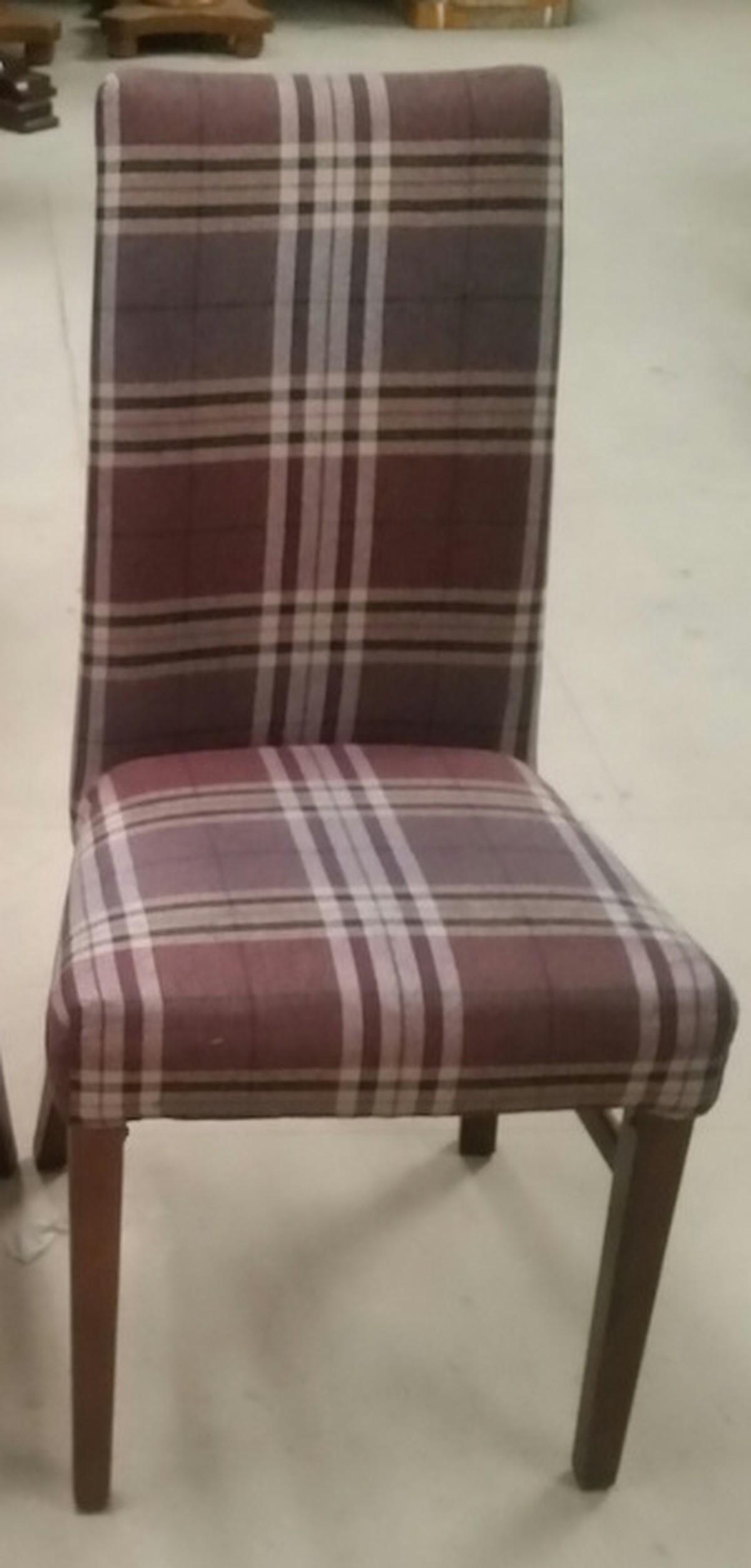 Tartan Fabric High Back Dining Chairs